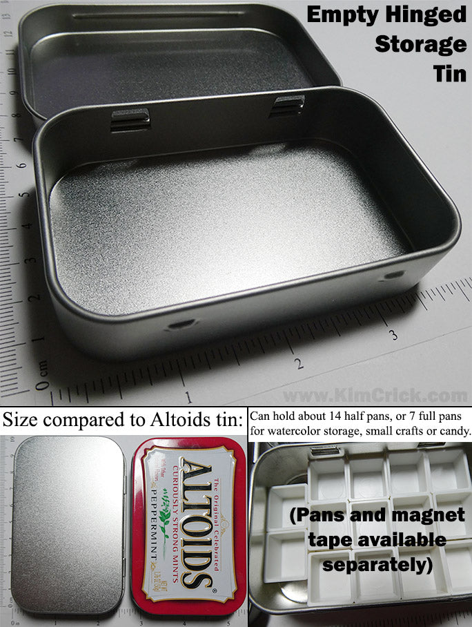Empty Metal Tin for DIY Watercolor Pans or Craft Container Blank Altoids Mint Box Size