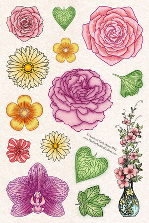 Unmounted Rubber Stamp Set Flower Collage #Bouq-M02