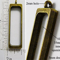 Open Back Long Rectangle Frame 10mm x 35mm x 5mm Curved Inside Bronzetone