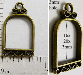 Open Back Small Bird Cage Frame 16mm x 20mm x 3mm Bronzetone