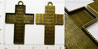 69x49x2mm XL Cross Ornament Pendant Tray Bronzetone