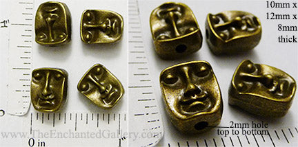 Face Head Beads Reversible 10x12x8mm Bronzetone