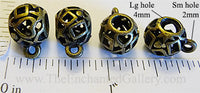 Pendant Hangers Filigree Geometric Shapes Openwork Ball Bronzetone Five Pack