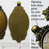 30x40mm Oval Pendant Tray Rose Flower Bouquet Border Bronze (Select Amount or Optional Insert)