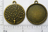 25mm Circle Pendant Tray Dotted Frame Reversible with Tree Art Back Bronze (Select Optional Insert)
