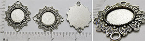 16mm Circle Butterfly Heart Wing Border Connector Tray Antiqued Silvertone