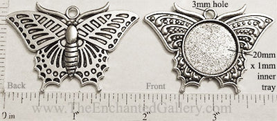 20mm Circle Pendant Tray Reversible Butterfly Antiqued Silver (Select Amount or Optional Insert)