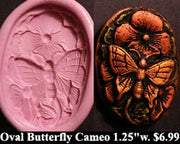 Flexible Push Mold Butterfly Floral Cameo Oval Button