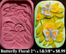 Flexible Push Mold Butterfly and Floral Sunflowers Panel