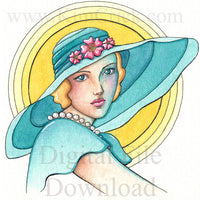 Digital File - Elegant Woman In Hat Vintage Lady Watercolor Artwork Color Painting Clip Art Download