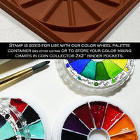 Color wheel rubber stamp watercolor swatch card artist gift paint mixing theory