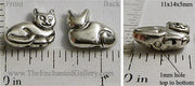 Antiqued Silvertone 3-D Cat Beads 11mm x 14mm x 5mm