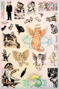 Unmounted Rubber Stamp Set Cat Art #Cats-M05