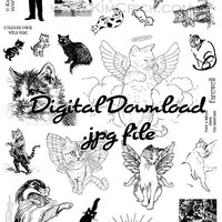 Digital File - Collage Sheet Cat Animal Kitten Theme Printable Digi Stamp Set #Cats-M05