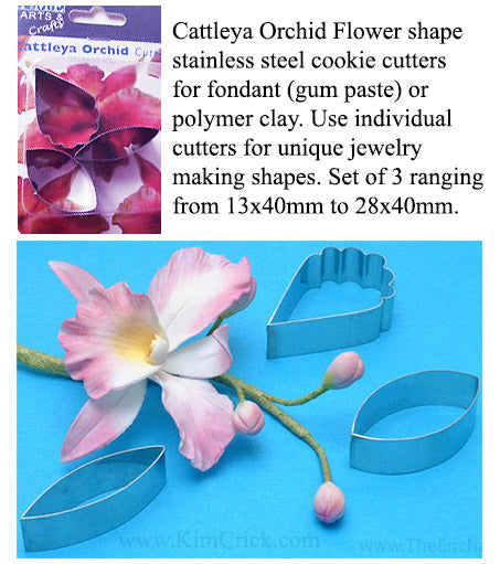 Cattleya Orchid Flower Petal Shape Cookie Cutters by PME 3 Piece Set