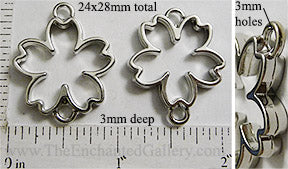 Open Back Cherry Blossom Pendant DuoLoops Connector 24x28x3mm Silvertone