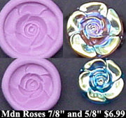 Flexible Push Mold Modern Art Two Rose Buttons
