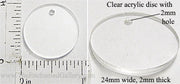 Laser Cut Acrylic Clear 24mm Circle Charm with Hole 5 Pack