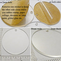 Laser Cut Acrylic Clear 38mm Circle Charm with Hole (Select an Amount)