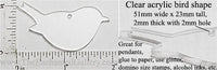 Laser Cut Acrylic Clear 51mm x 23mm Bird Charm with Hole 2 Pack