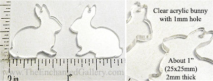 Laser Cut Acrylic Clear 25x25mm Bunny Charm with Hole 6 Pack
