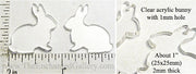 Laser Cut Acrylic Clear 25mm x 25mm Bunny Charm with Hole 6 Pack