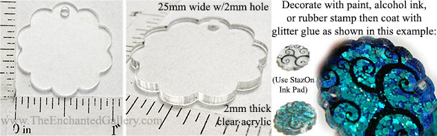 Laser Cut Acrylic Clear 25mm Circle Charm Scallop Edge with Hole 5 Pack