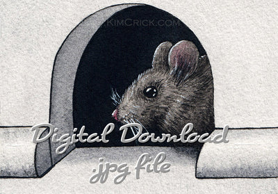 Digital File - Mouse Home Hole in Wall Animal Art Liquid Charcoal Watercolor Painting Printable Download
