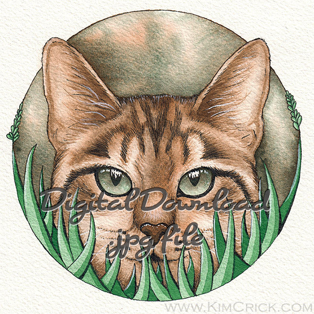 Digital File - Cat in Grass Kitty Watercolor Painting Artwork Printable Instant Download