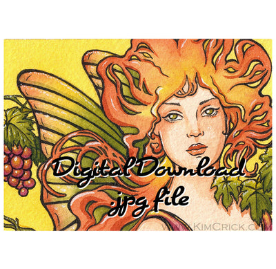 Digital File - Autumn Fairy Art Nouveau Alphonse Mucha Inspired Portrait Watercolor Painting Download