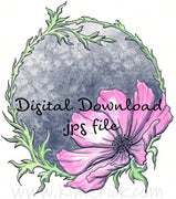 Digital File - Floral Cosmos Design Flower Color Painting Watercolor Clip Art Printable Download