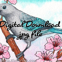 Digital File - Blue-Gray Tanager Bird Watercolor Painting Art Nursery Colorful Teal Animal Printable Download