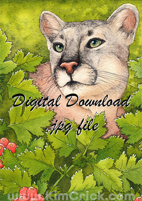 Digital File - Florida Panther Wild Cat Watercolor Painting Animal Art Printable Instant Download