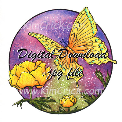 Digital File - Butterfly Flowers Vibrant Colorful Watercolor Painting Nursery Baby Room Artwork Printable Download