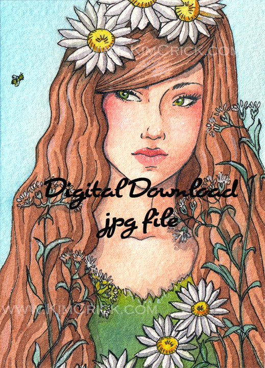 Digital File -  Daisy Lady and Bee Watercolor Painting High Res Scan Printable Download