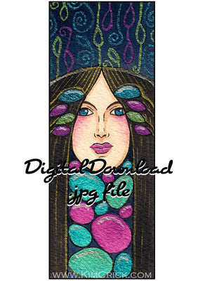 Digital File - Art Nouveau Lady Decor Bookmark Panel Watercolor Painting Colorful Card Making Printable Download