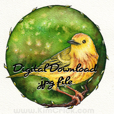 Digital File - Yellow Warbler Bird Watercolor Animal Painting Colorful Nursery Printable Download