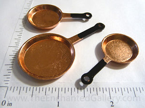 Miniature Doll House Copper Pans 3 Piece Set
