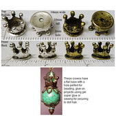 Metal Crown Bead or Doll House Mini Finding 14x10mm 3d with Bottom Panel 2mm Hole (Choose a Color)