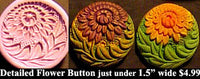 Flexible Push Mold Detailed Floral Mum and Leaves Button