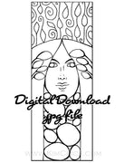 Digital File - Art Nouveau Lady Decor Bookmark Panel Line Drawing Digi-Stamp Coloring Book Page Download