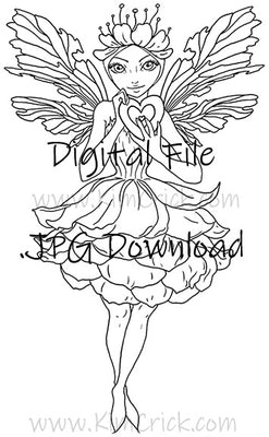 Digital File - Valentine Flower Fairy Line Drawing Digi Stamp Printable Clip Art Download