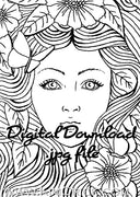 Digital File - Butterfly Lady Portrait Line Drawing Artwork Coloring Book Clip Art Download