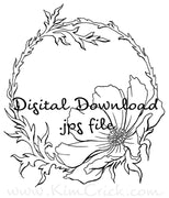 Digital File - Floral Cosmos Flower Ink Line Drawing Artwork Clip Art Adult Coloring Book Download