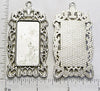 19x38x1.5mm Rectangle with Ornate Border Pendant Tray Antiqued Silvertone