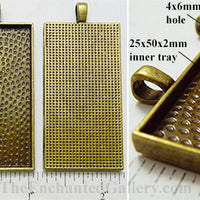 25x50mm Rectangle Textured Domistyle Pendant Tray Bronze (Select Amount or Optional Insert)