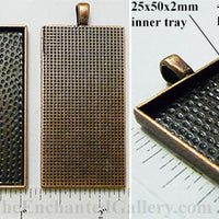 25x50mm Rectangle Textured Domistyle Pendant Tray Copper (Select Amount or Optional Insert)