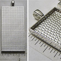 25x50mm Rectangle Textured Domistyle Pendant Tray Shiny Silver (Select Amount or Optional Insert)
