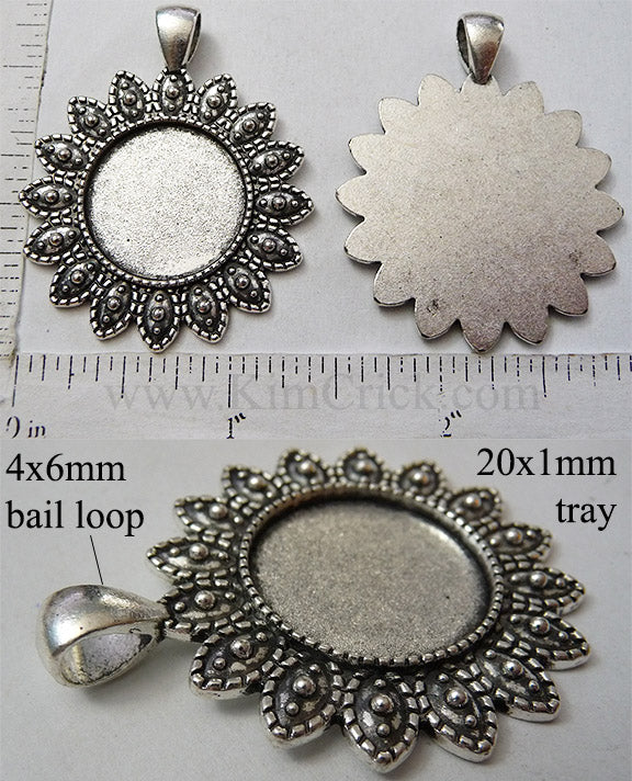 20mm Round Circle Pendant Tray with Dotted Petals Bail Style Antique Silver