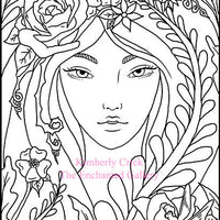 Adult coloring book clip art fairy nature flower dragonfly rose girl woman art nouveau commercial use